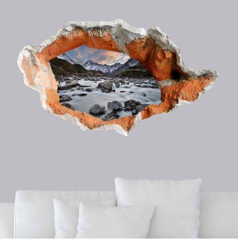 Autocollant de sol 3D Hole Snow Mountain Stone Stream Wall Decal Gris