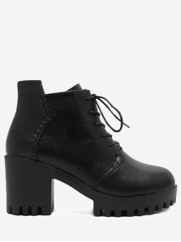Side Zip Lug Sole Ankle Boots Noir 35