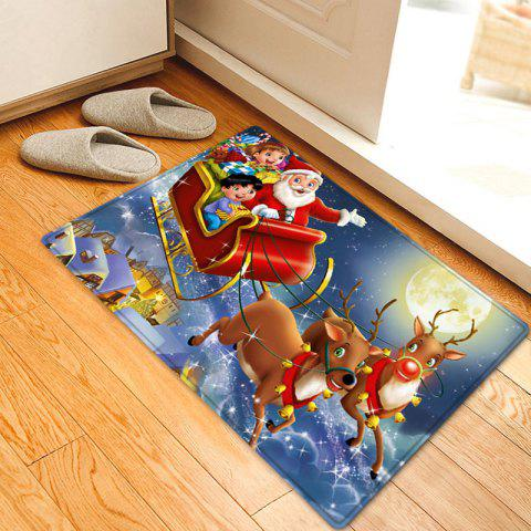 Store Christmas Night Santa Sleigh Pattern Anti-skid Water Absorption Area Rug RED W16 INCH * L24 INCH