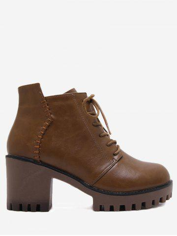 Side Zip Lug Sole Ankle Boots Brun 39