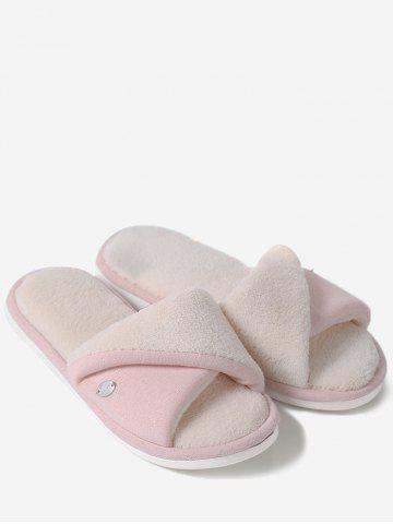 Fashion Open Toe Faux Shearling Fluffy Slippers - SIZE(36-37) PINK Mobile