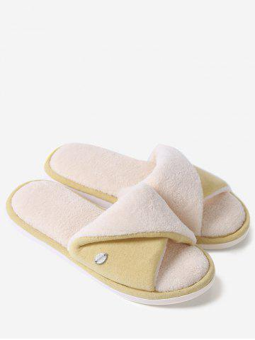 Shop Open Toe Faux Shearling Fluffy Slippers - YELLOW SIZE(40-41) Mobile