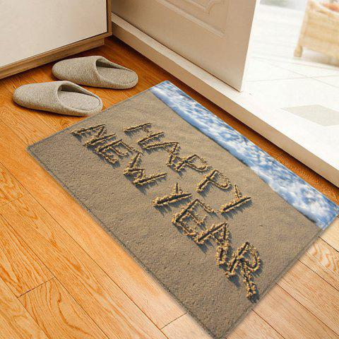 Beach Happy New Year Pattern Anti-skid Tapis de surface d'absorption d'eau
