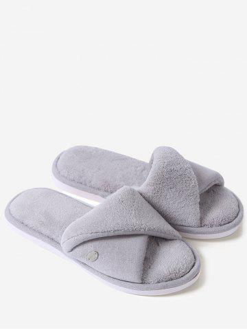 Shops Open Toe Faux Shearling Fluffy Slippers - SIZE(36-37) GRAY Mobile