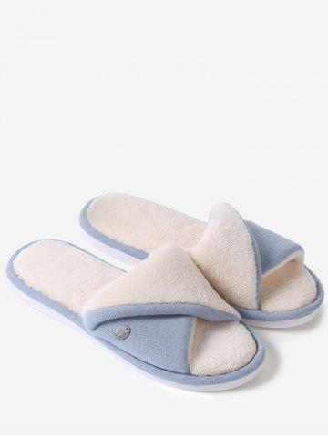 Fashion Open Toe Faux Shearling Fluffy Slippers - SIZE(36-37) BLUE Mobile