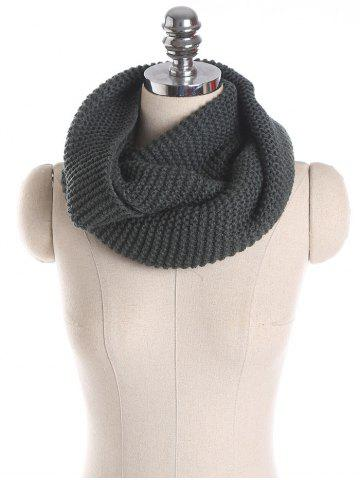 Shop Woolen Yarn Knit Plain Infinite Scarf - SMOKY GRAY  Mobile
