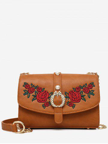 Outfits Metal Detailed Embroidery Faux Pearl Crossbody Bag - BROWN  Mobile
