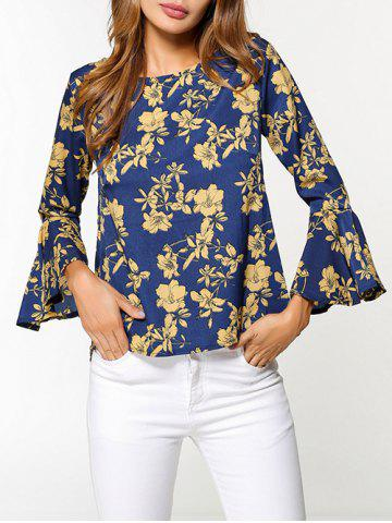 Cheap Flare Sleeve Floral Print High Low Blouse - S COLORMIX Mobile