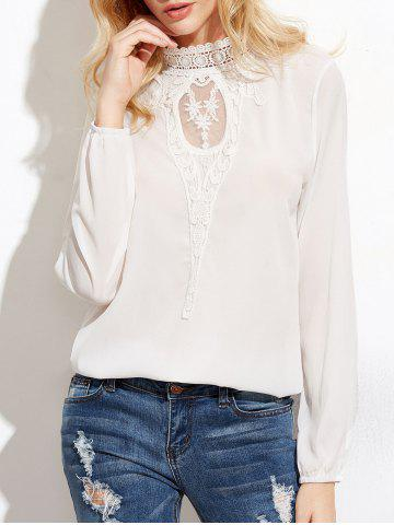 Outfit Floral Lace Panel High Neck Blouse WHITE S