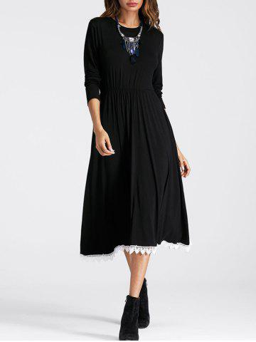 Lace Panel Drawstring Waist Flowy Dress Noir L