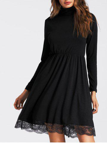 New Turtleneck Lace Insert A Line Dress - S BLACK Mobile