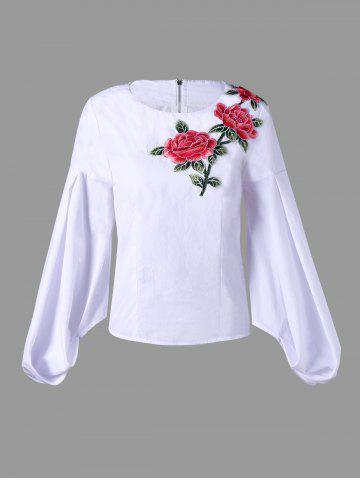 Trendy Flower Embroidered Zip Up Puff Sleeve Blouse