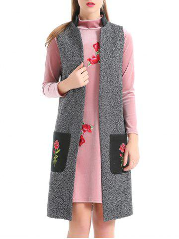 Unique Embroidery Pockets Heathered Longline Waistcoat GRAY S