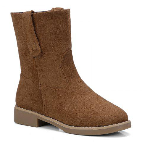 Faux Suede Slip On Ankle Boots Curcumae 39