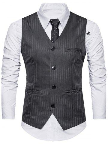Discount Single Breasted Belt Vertical Stripe Waistcoat - L DEEP GRAY Mobile