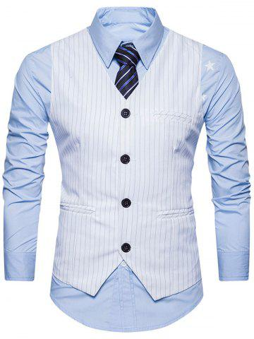 Fashion Single Breasted Belt Vertical Stripe Waistcoat - M WHITE Mobile