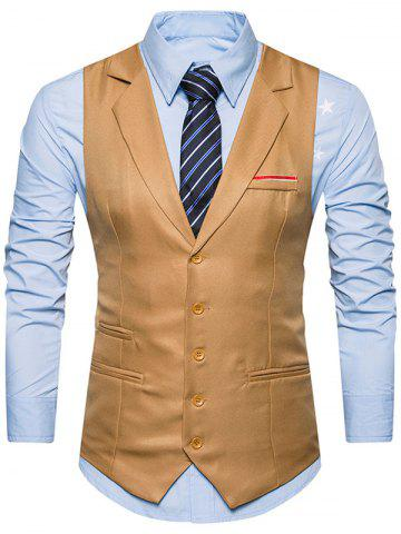 Trendy Belt Edging Single Breasted Waistcoat KHAKI S