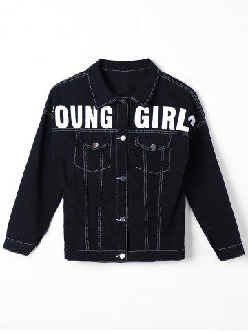 Latest Button Up Graphic Print Denim Jacket BLACK M