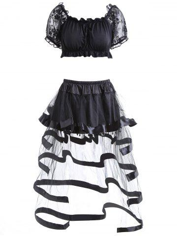 Cheap Off The Shoulder Crop Top and Ruffled Skirt BLACK S