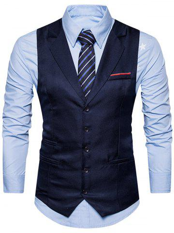 Hot Belt Edging Single Breasted Waistcoat - S CADETBLUE Mobile