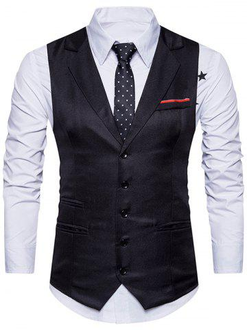 Latest Belt Edging Single Breasted Waistcoat BLACK XL