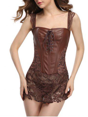 Hot Faux Leather Lace Zip Corset Dress BROWN L