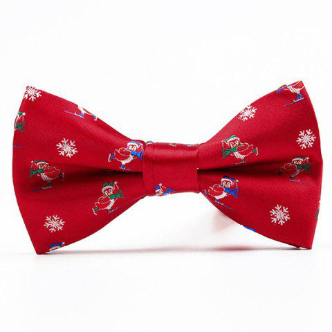Cheap Christmas Festive Jacquard Bow Tie - RED  Mobile