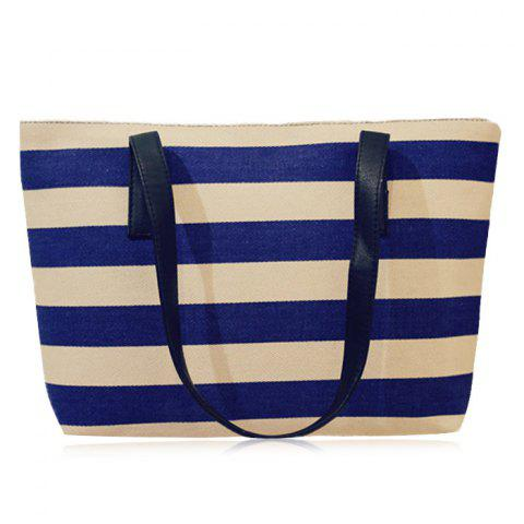 Affordable Canvas Color Block Striped Shoulder Bag