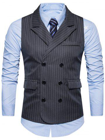 Store Double Breasted Belt Vertical Stripe Waistcoat - 2XL DEEP GRAY Mobile