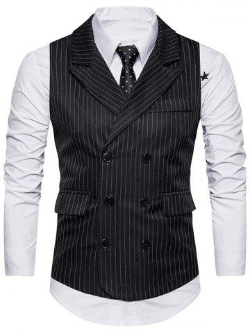Cheap Double Breasted Belt Vertical Stripe Waistcoat - XL BLACK Mobile