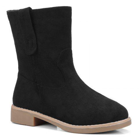Faux Suede Slip On Ankle Boots Noir 35
