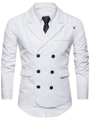 Shop Double Breasted Belt Vertical Stripe Waistcoat - S WHITE Mobile