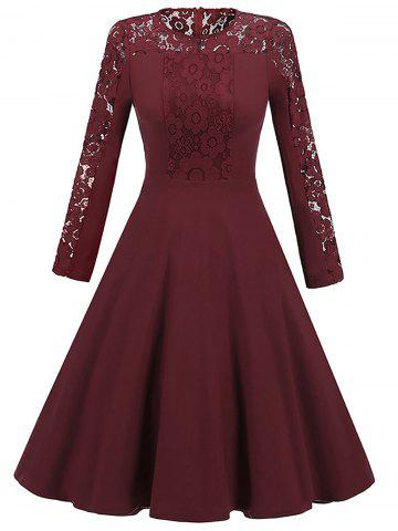 Fashion Long Sleeve Lace Insert Vintage Skater Dress