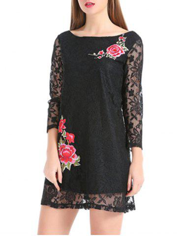 Outfits Flower Embroidery Lace Sheer Sleeve Mini Dress BLACK M