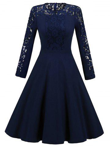 Shops Long Sleeve Lace Insert Vintage Skater Dress - 2XL PURPLISH BLUE Mobile