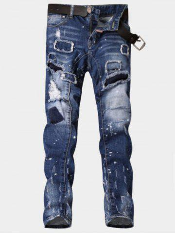Latest Paint Print Patch Design Ripped Jeans - 33 BLUE Mobile