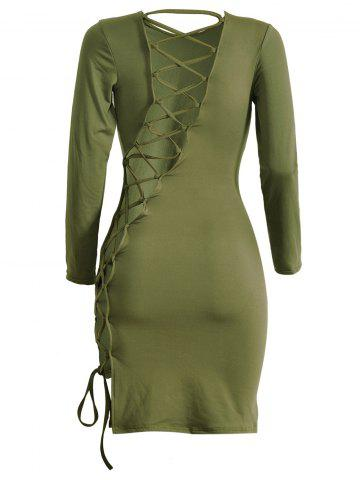 Outfit Long Sleeve Cut Out Lattice Sheath Dress - M ARMY GREEN Mobile