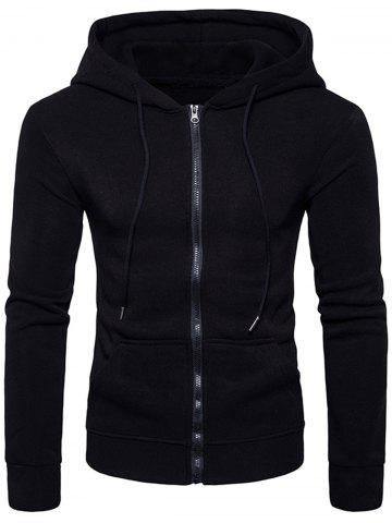 Pouch Pocket Graphic Print Zip Up Hoodie