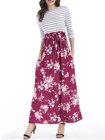 Floral Striped Pocket Floor Length Dress