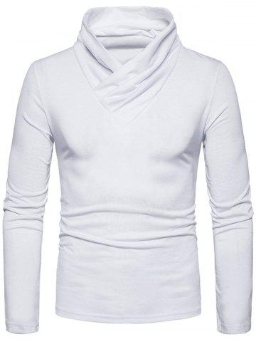 Discount Classical Cowl Neck Long Sleeve T-shirt - XL WHITE Mobile