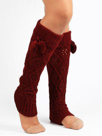 Online Fuzzy Ball Decorated Hollow Out Knitted Leg Warmers WINE RED