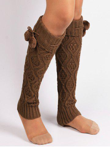 Sale Fuzzy Ball Decorated Hollow Out Knitted Leg Warmers KHAKI