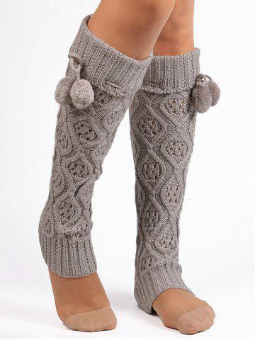 Fashion Fuzzy Ball Decorated Hollow Out Knitted Leg Warmers - LIGHT GRAY  Mobile