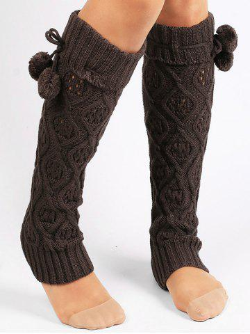 Latest Fuzzy Ball Decorated Hollow Out Knitted Leg Warmers - DEEP GRAY  Mobile