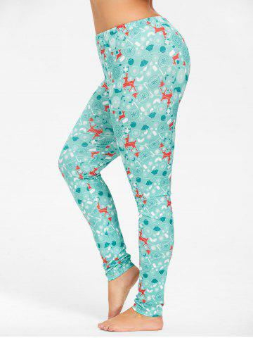 Sale Plus Size Deer Pattern Christmas Pants