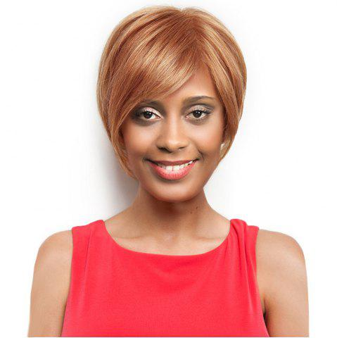 Shop Inclined Bang Short Straight Capless Human Hair Wig - LIGHT BROWN  Mobile