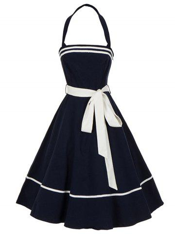Cheap Vintage Backless Halter Pin Up Skater Dress - S PURPLISH BLUE Mobile