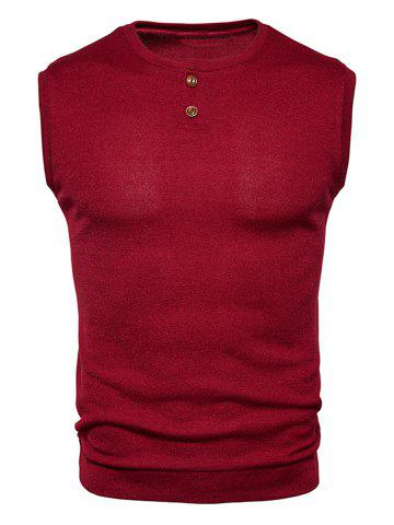 Fancy Buttons Design Crew Neck Vest