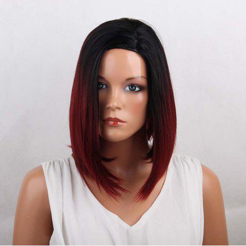 Discount Side Parting Medium Ombre Straight Bob Synthetic Wig - COLORMIX  Mobile