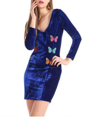 Sale Long Sleeve Butterfly Embroidered Velvet Bodycon Dress - S ROYAL Mobile
